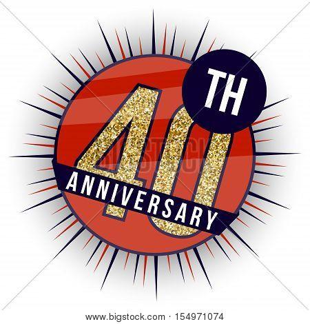 Forty years anniversary banner. 40th anniversary logo.