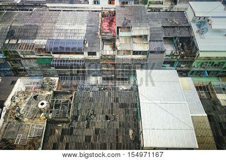 Bangkok,Thailand - October 4, 2016: Communal roofs in Bangkok Thailand / Top view