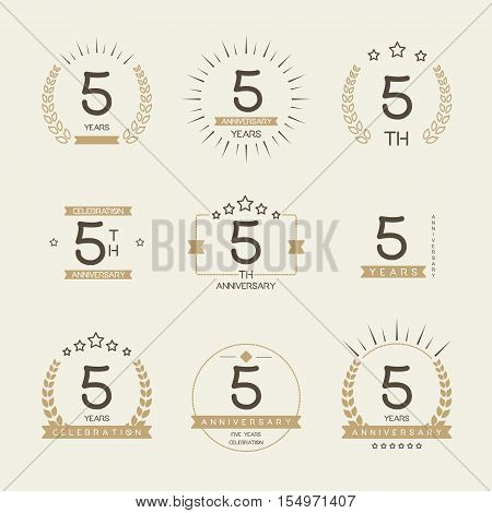 Five years anniversary celebration logotype. 5th anniversary logo collection.