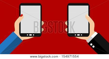 Male and female hands holding Smartphone: Banner - Flat Design