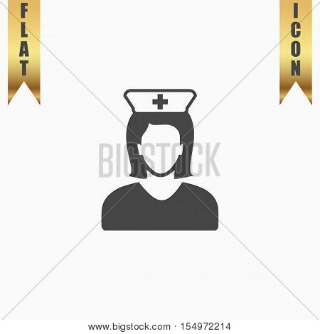 Nurse. Flat Icon. Vector illustration grey symbol on white background with gold ribbon