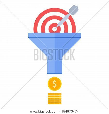 Funnel flow and targeting concept. Flat illustration of process of conversion effective marketing to money. Infographics vector elements for business presentations publish web social media.