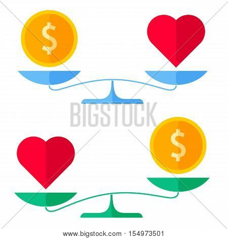 Dollar coin and a heart on a scales. Flat concept illustration of balance wealth and health symbols. Isolated vector elements for money and healthcare infographics presentations publish and web.