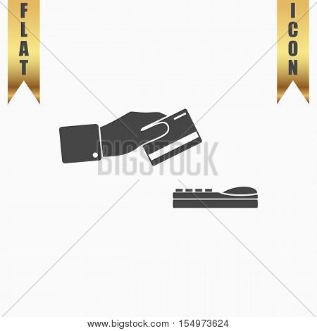 Hand swiping a credit card. Flat Icon. Vector illustration grey symbol on white background with gold ribbon