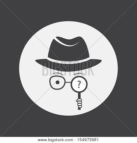 Detective. Spy. Unknown man in hat, glasses and a magnifying glass in hand
