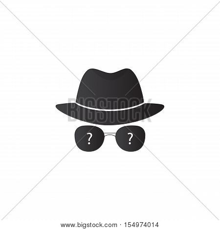 Strange person in a hat and dark glasses. Spy. Vector icons for search engine