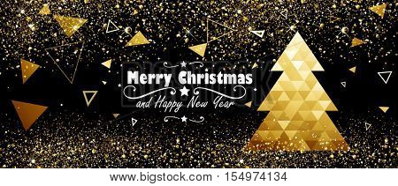 Christmas and New Year Design with Gold Tree. Vector illustration