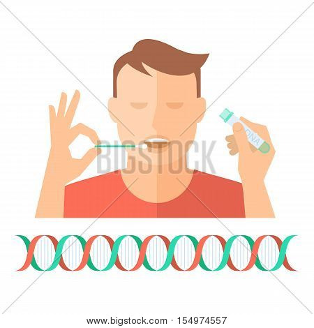 Hand taking a bodily fluid sample for DNA test from a man. Concept flat illustration of hand holding a swab a man with open mouth and hand with test-tube container. Vector infographic element.