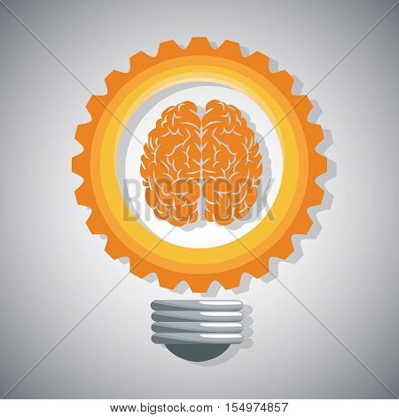 Bulg gear and brain icon. Big idea think different and creative theme. Vector illustration