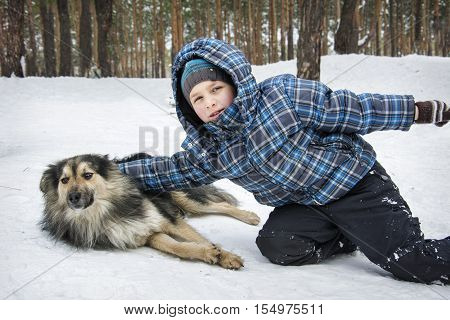 Winter in the forest little boyl playing with a stray dog.