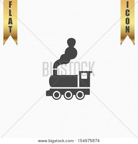 Train - classic locomotive. Flat Icon. Vector illustration grey symbol on white background with gold ribbon