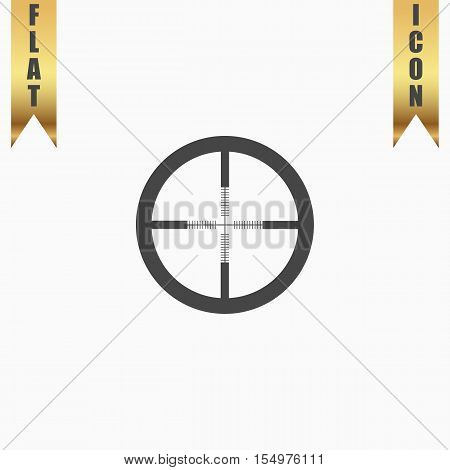 Crosshair. Flat Icon. Vector illustration grey symbol on white background with gold ribbon