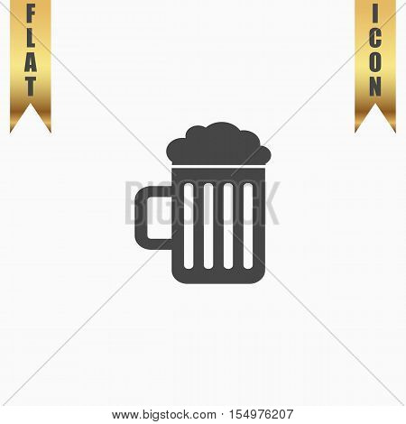 Simple Beer mug. Flat Icon. Vector illustration grey symbol on white background with gold ribbon
