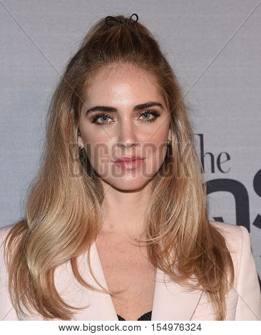 LOS ANGELES - OCT 24:  Chiara Ferragni arrives to the InStyle Awards 2016 on October 24, 2016 in Hollywood, CA
