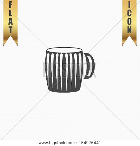 Empty beer mug. Flat Icon. Vector illustration grey symbol on white background with gold ribbon