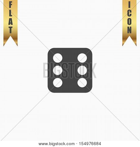 One dices - side with 6. Flat Icon. Vector illustration grey symbol on white background with gold ribbon