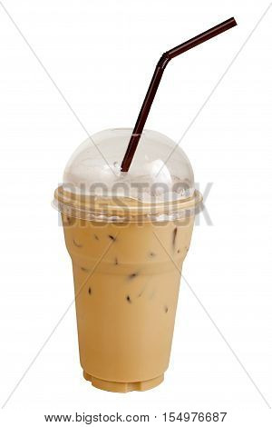 espresso Iced coffee with straws in plastic clear cup. Isolated on white with work paths