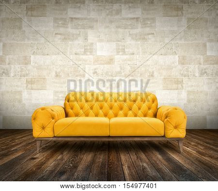 Yellow luxurious sofa on rock wall background