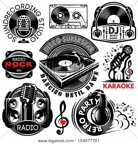 set of retro badges templates for karaoke disco party radio singing