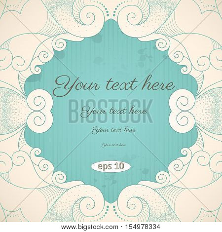 Vector vintage background. Filigree frame striped paper and blots. Place for your text. Easily edit the colors.