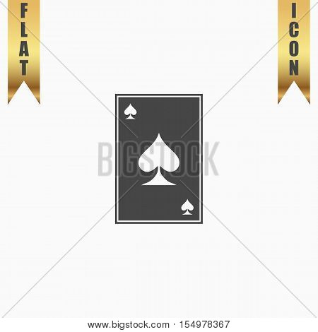 Spades card. Flat Icon. Vector illustration grey symbol on white background with gold ribbon