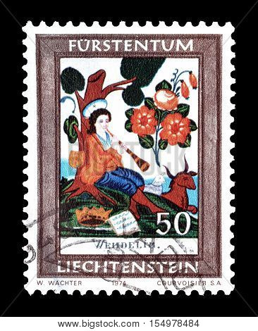 LIECHTENSTEIN - CIRCA 1974 : Cancelled postage stamp printed by Liechtenstein, that shows Saint Wendelin.