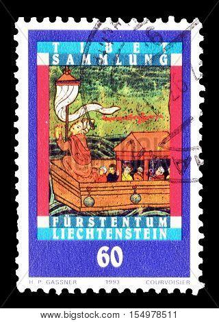 LIECHTENSTEIN - CIRCA 1993 : Cancelled postage stamp printed by Liechtenstein, that shows Scenes from Tibet.