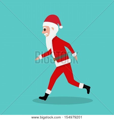 Vector illustration of cartoon fun cute Santa Claus runs to children at Christmas. Running Father Frost. Side view, profile. Flat style. Santa Claus in a hurry for the holiday.