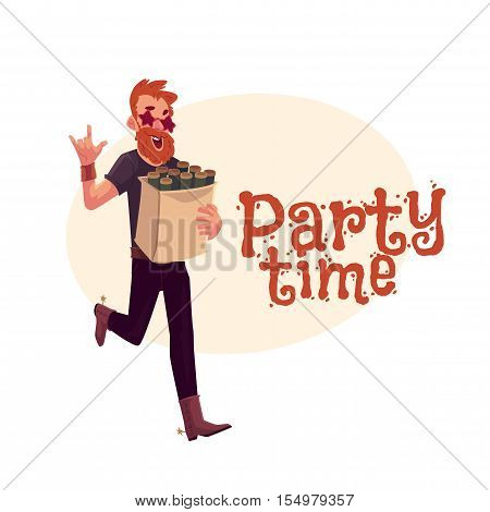 Young hipster in star glasses and cowboy boots hurrying to party with a bag of beer bottles, cartoon vector illustration isolated on background. Greeting card, poster, banner design for birthday party