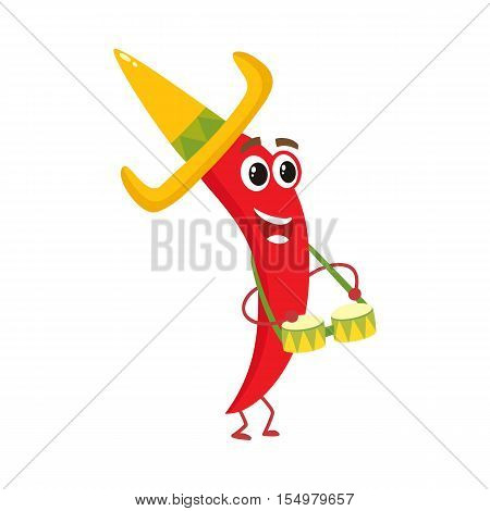 Smiling chili pepper in Mexican sombrero playing music on bongo drums, cartoon vector illustration isolated on white background. Humanized chili playing drums in wide brimmed sombrero