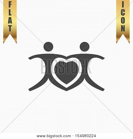 Love people - heart. Flat Icon. Vector illustration grey symbol on white background with gold ribbon