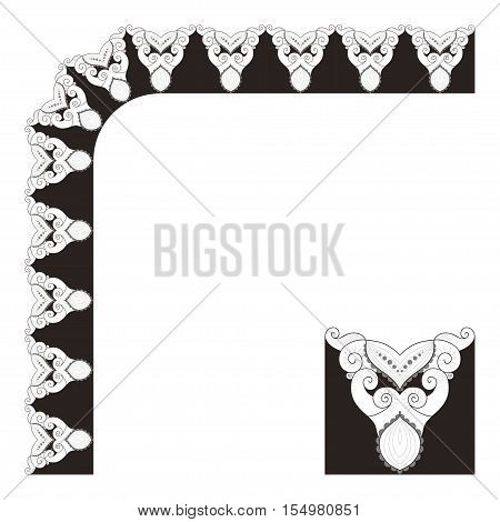 Vector lace pattern. The elements of a decorative frame and border. Number of elements can be changed.