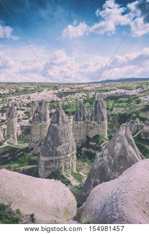 Famous Love valley in Cappadocia, Turkey. Toned