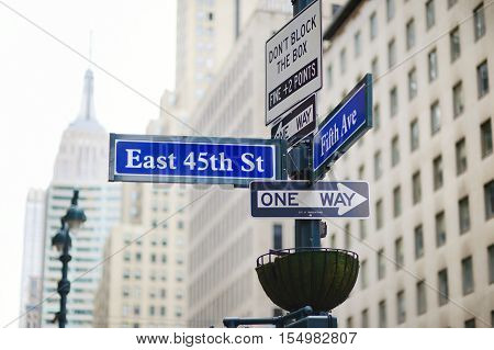Intersection Of East 45Th Street And 5Th Ave In New York