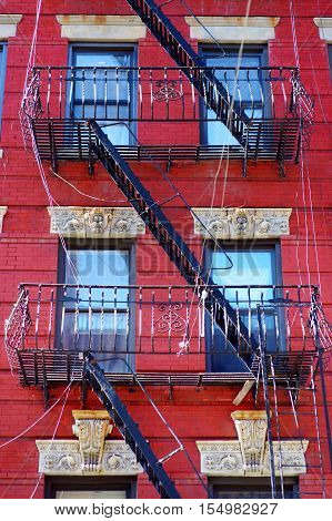Tenement in Little Italy New York on winter day