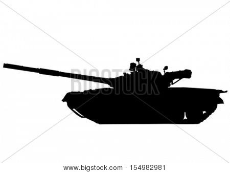 Big military tank on white background