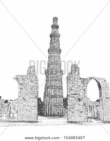 Qutub Minar Vector Illustration - New Delhi India Unesco World Heritage Site