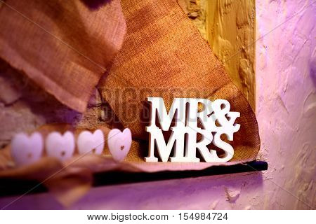 Fancy Mr&mrs Sign As A Decoration For W Wedding