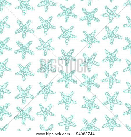 Seamless pattern with sea stars in blue color. Good for hawaiian tropical beach party banners, posters, wallpaper, wrapping paper, textile modern fashion print, website backdrop. Vector illustration