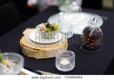 Dark Table Setting For An Event Or Party