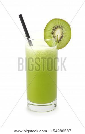 Group of sliced kiwi with kiwi juice on white background