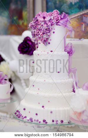 White Wedding Cake Decorated With Sugar Bubbles