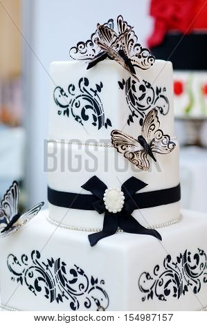 White And Black Butterfly Wedding Cake