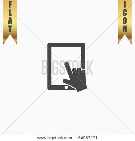 Click on the screen tablet. Flat Icon. Vector illustration grey symbol on white background with gold ribbon
