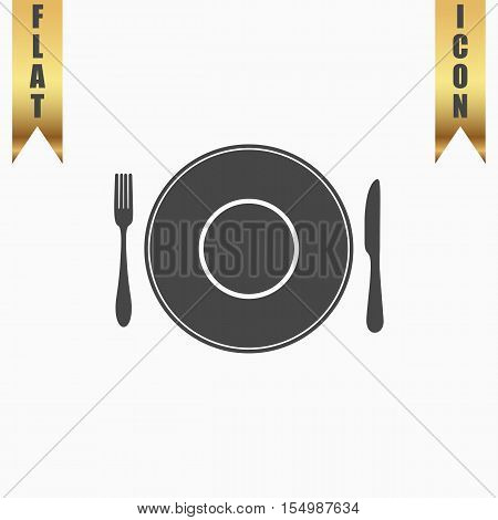 Plate dish with fork and knife. Flat Icon. Vector illustration grey symbol on white background with gold ribbon