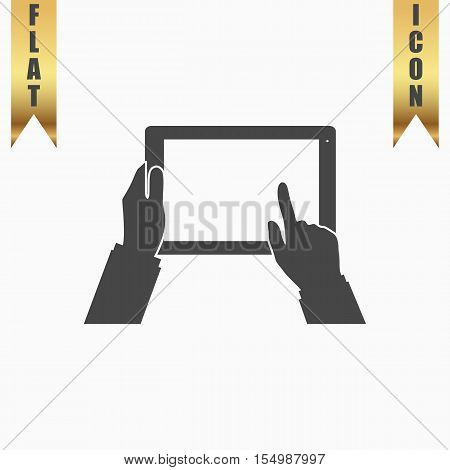 Tablet PC in human hands. Flat Icon. Vector illustration grey symbol on white background with gold ribbon