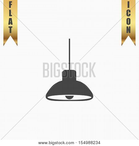 Ceiling lamp. Flat Icon. Vector illustration grey symbol on white background with gold ribbon