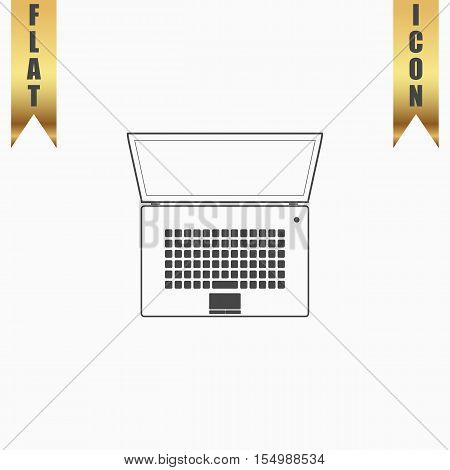 Simple Laptop. Flat Icon. Vector illustration grey symbol on white background with gold ribbon