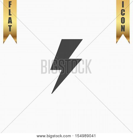 Simple bolt. Flat Icon. Vector illustration grey symbol on white background with gold ribbon