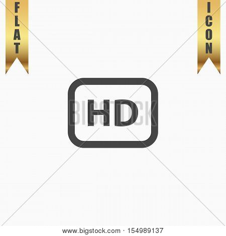 HD word button. Flat Icon. Vector illustration grey symbol on white background with gold ribbon